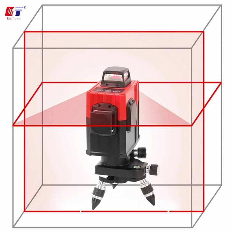 KaiTian Laser Level Tripod with Detector Self-Leveling Corss 8 Lines 360 Rotary Red Vertical Beam Nivel Horizontal Line Lasers