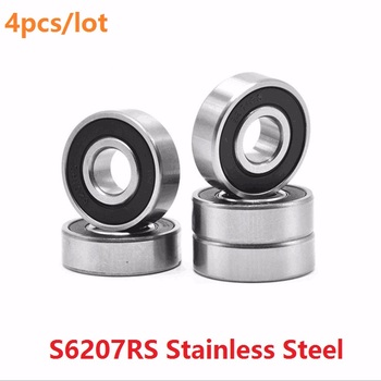 4pcs ABEC-5 S6207RS S6207-2RS 35*72*17mm Stainless Steel ball bearing Stainless Steel Deep Groove Ball bearing 35x72x17mm 6207