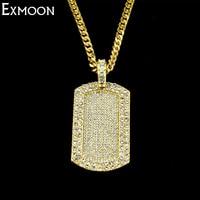 EX-MOON Männer Frauen Gold/Silber Farbe Gliederkette Halskette Hiphop Schmuck Voller Kristall Strass Hundemarke Anhänger Halskette