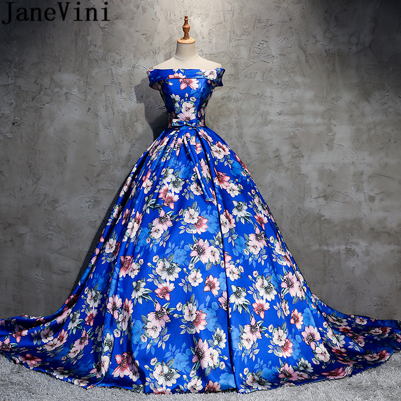 JaneVini 2018 Exquisite Blue Floral Prom Dress Court Train Satin Bridesmaid Dresses For A Wedding Floral Print Long Party Dress