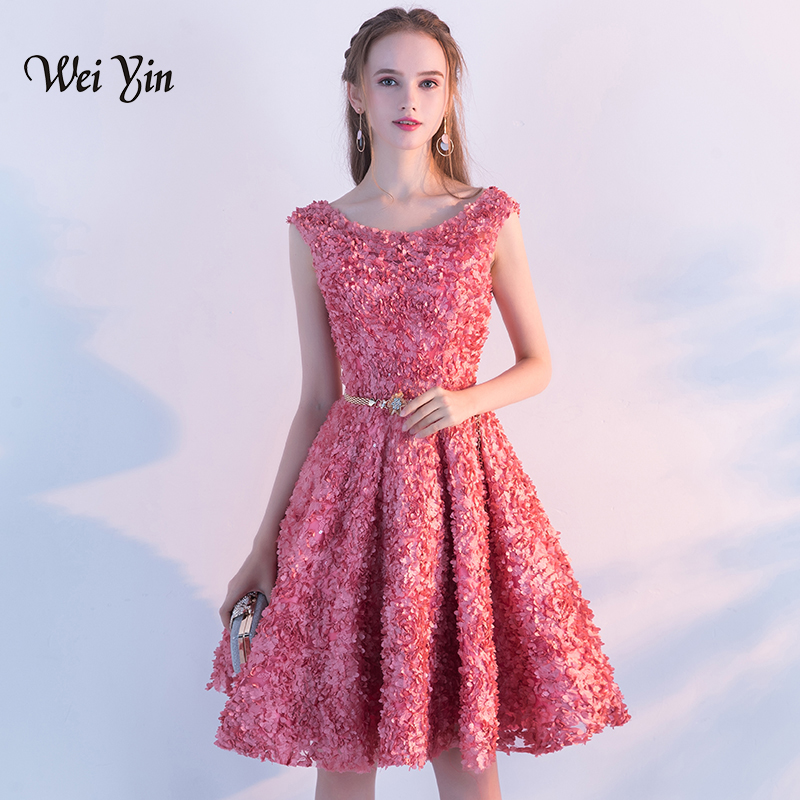 weiyin Robe De Soiree Rose Red Lace   Cocktail     Dress   The Banquet Elegant Lace Up Party Formal   Dresses   Custom Made Party Gown WY851
