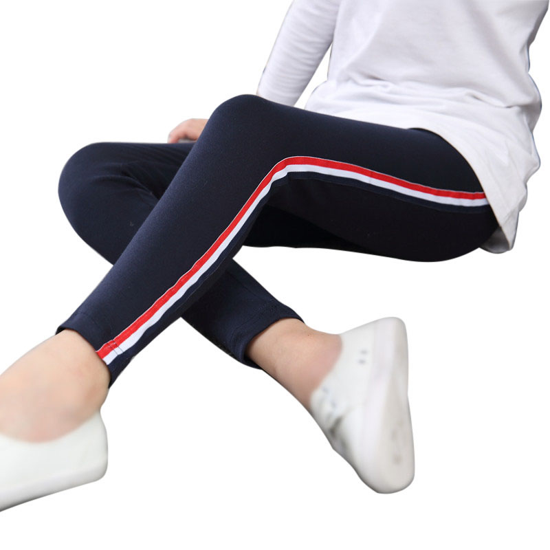 цена Fashion Side Striped Pants Kids Leggings Girls Leggings Pants Vertical Trousers Leggins for Girls Children Teens Sports Exercise