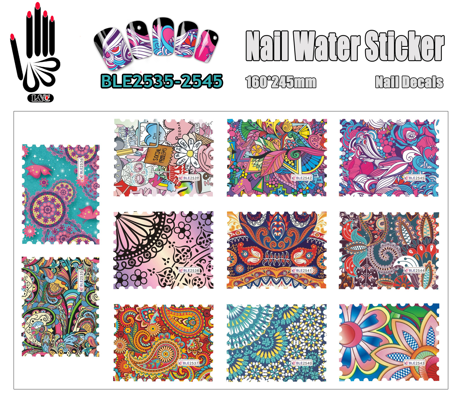 Closeout 11 Sheets Lot Newest Nail Tattoo Ble2535 2545 Paisley