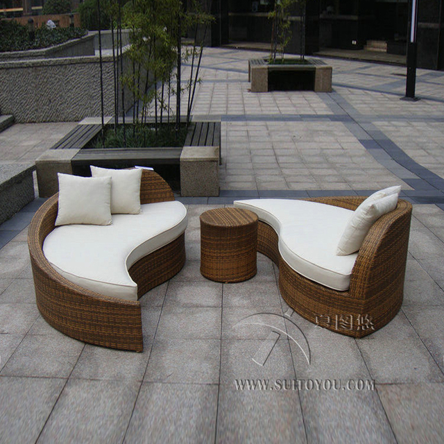 3pcs Rattan Sofa Set Poly Rattan Waterproof Lounge Bed Rattan