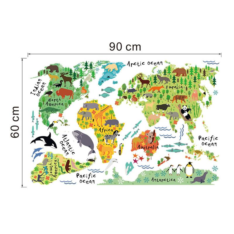 world map animals wall stickers room decorations cartoon mural art zoo children home decals. Black Bedroom Furniture Sets. Home Design Ideas