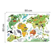world map animals wall stickers room decorations cartoon mural art zoo children home decals posters 037. 5.0