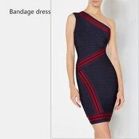 2017 Fashion Women Sleeveless One Shoulder Striped Summer Dress Celebrity Bandage Dress Vestidos Clubwear Party Dresses