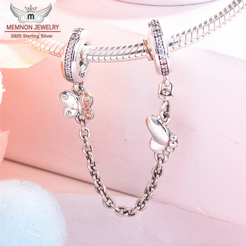 Decorative Butterflies Safety Chain Charms 925 Sterling Silver Charm fit beads Bracelet bangle DIY making For women fine Jewelry in Charms from Jewelry Accessories