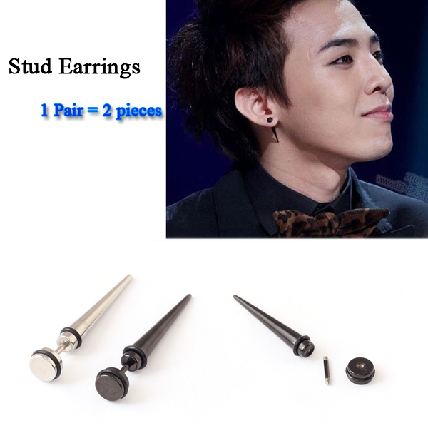 new style Sell Fashion Rock Punk Hip Hop Titanium Stainless Steel Black  Silver Color Spike Men Stud Earrings For Men