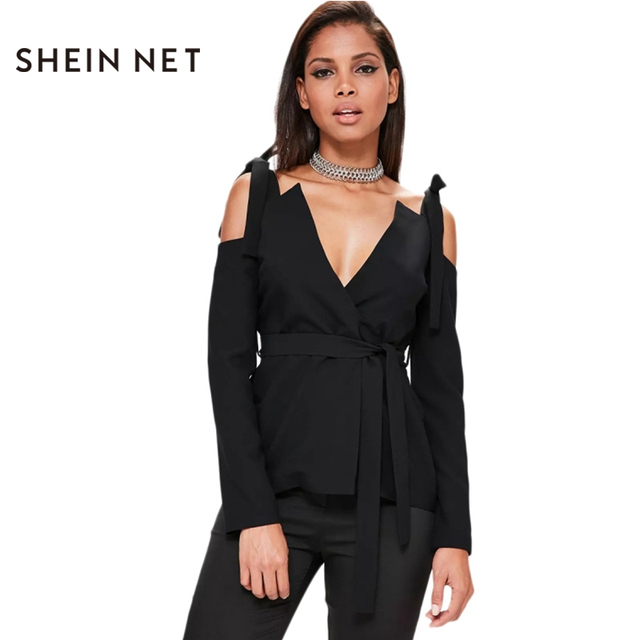 f99df23aba1ea Sheinnet Women Black Tie Cold Shoulder Blazer Punk Style Belted Coat  Fashion Women Coat Jacket Female Blazers Outwear