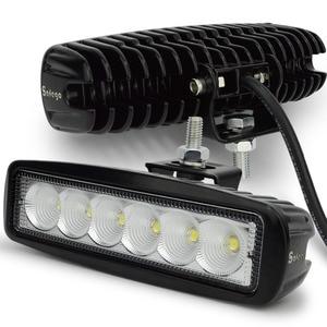 Image 1 - Safego 2 sztuk 18 W LED robocza listwa oświetleniowa offorad do ciężarówek SUV łódź 4X4 4WD ATV UTE samochodu lampa robocza LED jazdy lampy przeciwmgielne Spot wiązki powodzi