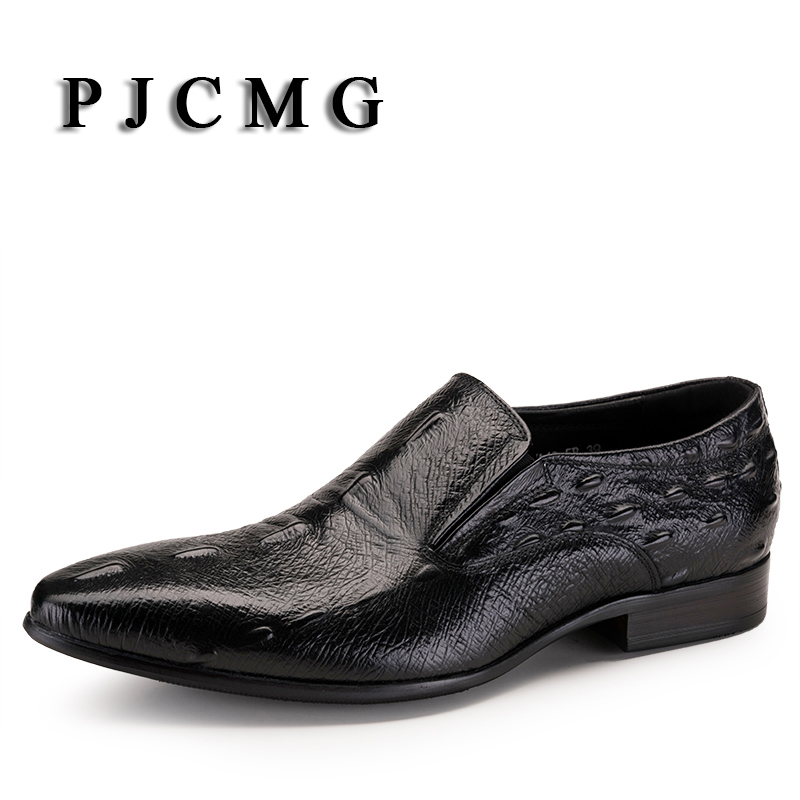 PJCMG New Black/Red Mens Oxfords Crocodile Pattern Slip-On Pointed Toe Genuine Leather Business Formal Men Wedding Shoes mens genuine leather pointed toe buckle leather shoes crocodile print oxfords business man wedding shoes formal dress shoes