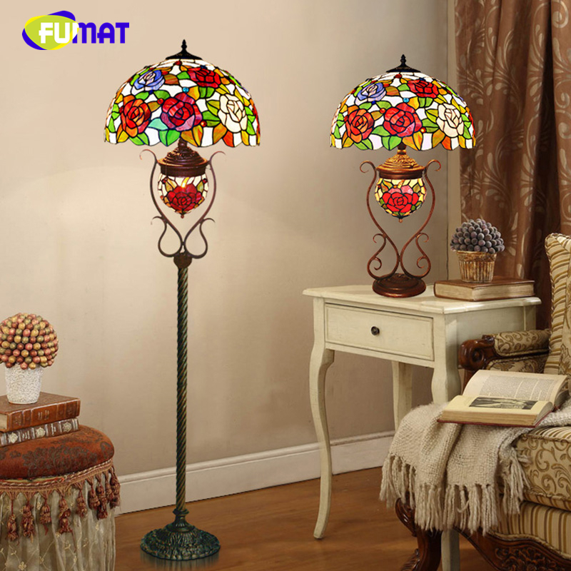 FUMAT European Style Pastoral Rose Glass shade Floor Lamps Tiffany Stained Glass Flower LED Stand Floor Lights For Living Room european style tieyi balcony floor type multi room pot holder green flower shelf simple pastoral special offer free shipping