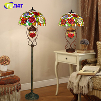 FUMAT European Style Pastoral Rose Glass shade Floor Lamps Tiffany Stained Glass Flower LED Stand Floor Lights For Living Room