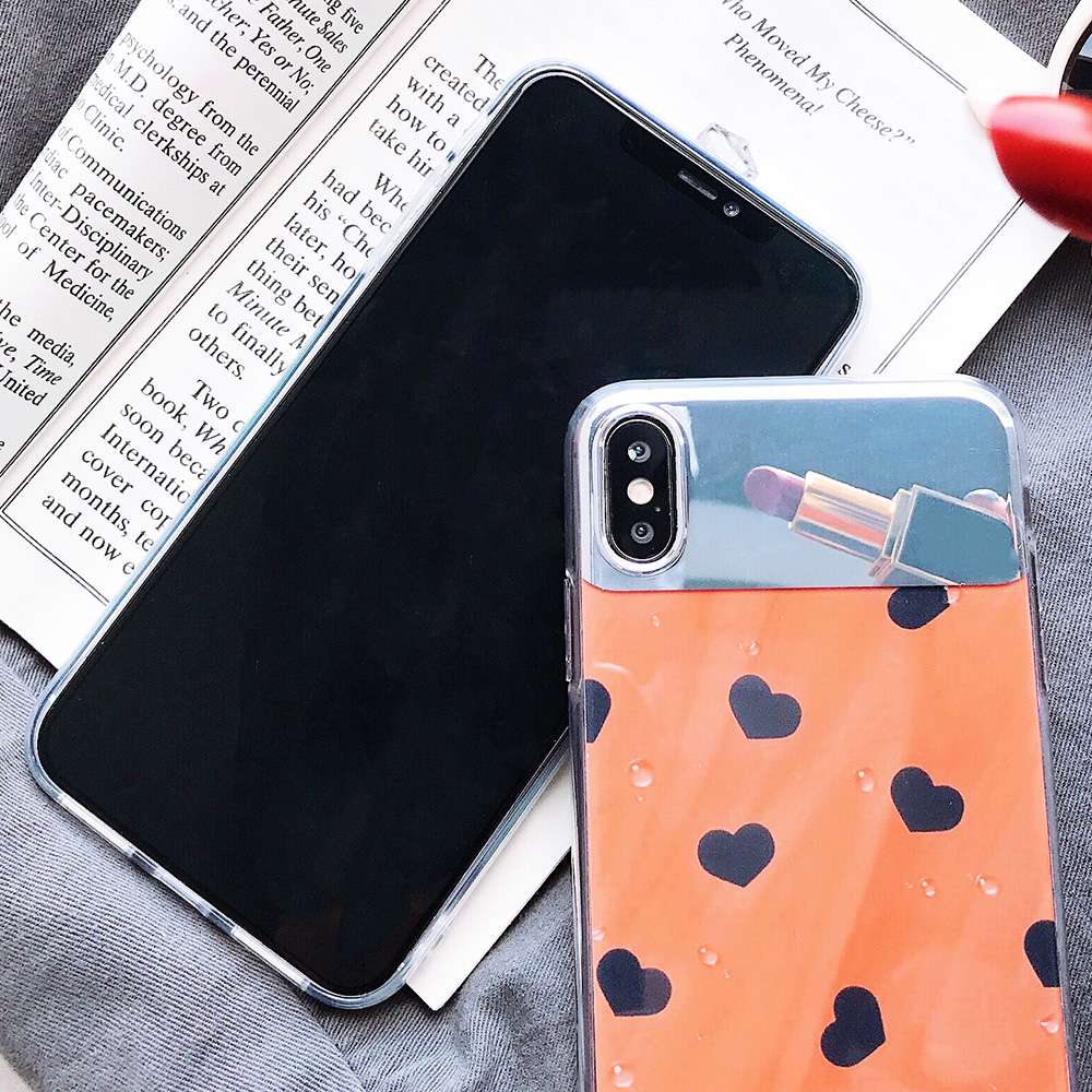 KIPX1126_2_JONSNOW Mirror Soft Case for iPhone 6S 7 8 Plus X XS XR XS Max Cover Cases Glossy Flower Heart Pattern Mirror Protector
