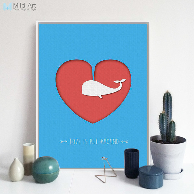 Modern Beautiful Heart Whale Love Quotes A60 Canvas Art Print Poster Amazing Canvas Love Quotes