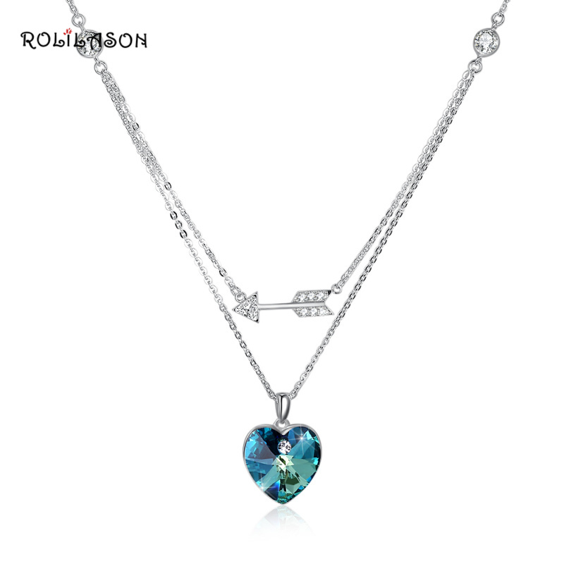 ROLILASON 925 sterling silver small fresh heart-shaped necklace pendant color zircon anniversary sp74 zea sl814 1y women s eiffel tower shaped zinc alloy zircon pendant necklace silver