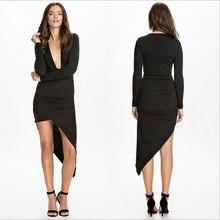Fashion Style Women Bodycon Dress Big V-neck Hem Irregular Design Long Sleeve Women Sexy Autumn Dress Vestido De Festa Curto XXL