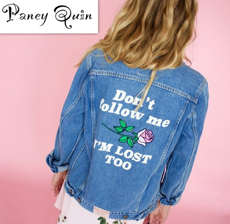 Women Basic Coats Autumn Denim Jacket Vintageletter embroidery Long Sleeve Loose large size Jeans Coat Casual Girls Outwear