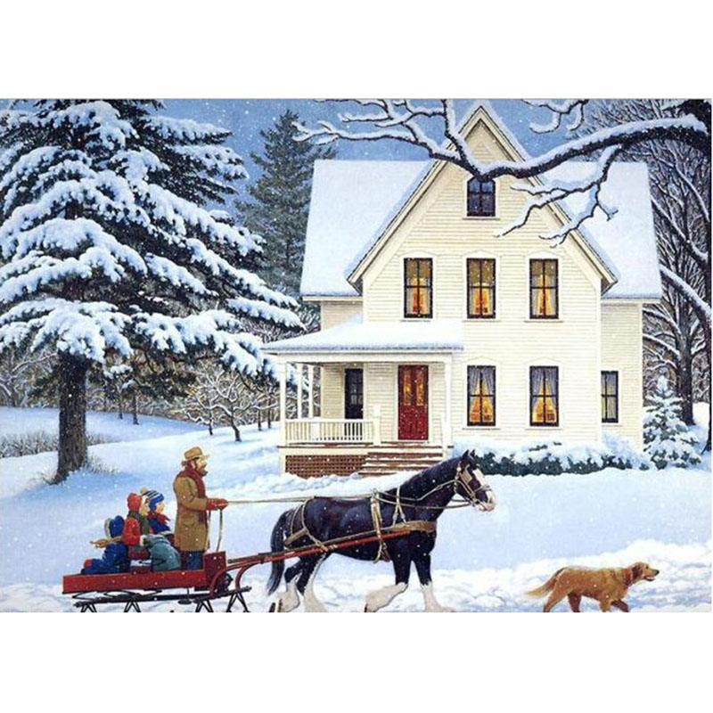 5d Diamond Embroidery High Quality Canvas Diamond Painting Horse-drawn Sleigh Diy Diamond Mosaic New Year Gift Home Decoration Online Shop
