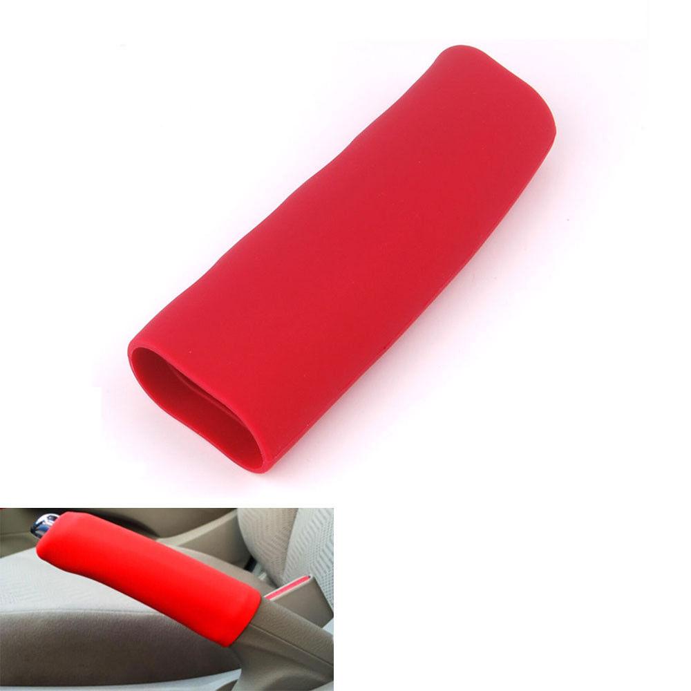 Universal Car Anti Slip Silicone Handbrake Grip Cover Handle Lever Sleeve Red