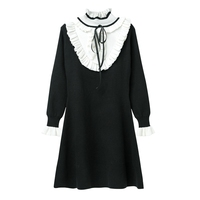 Hchenli 2018 Women Ruffle Sweatrer Dress Wool Black White Contrast Color Drawstring High Quality Fashion Sweaters