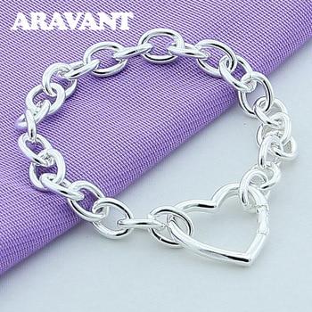 Women Bracelets Silver Heart Buckle Bracelet For Women Romantic Bracelets Silver 925 Jewelry chic silver heart wing bracelet for women