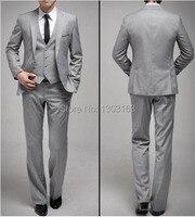 جديد مخصص زر واحد يتأهل ضوء رمادي العريس البدلات الرسمية الشق رفقاء العريس الرجال الزفاف/عشاء الدعاوى (سترة + بنطلون + ربطة عنق + سترة)