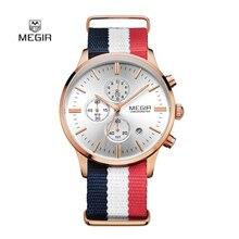 Mode Simple élégant Top marque De Luxe MEGIR Montres Hommes Chronographe Toile bande Quartz-montre mince Cadran Horloge Homme 2011 Relogio