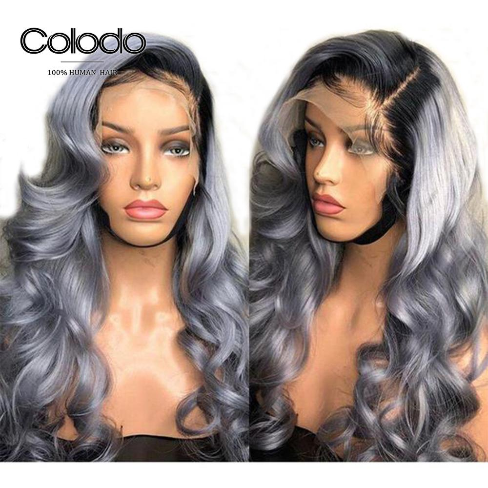 COLODO Grey Human Hair Wig Remy Brazilian Lace Front Wigs Pre Plucked Ombre Wavy Lace Front Human Hair Wigs For Black Women