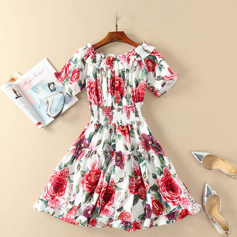 ligne Taille Streetwear Floral Slash Élastique Court Cou Multi A Femmes Impression Rose Summer 2018 Ruches Party Robe Holiday zAI0vq5Iw