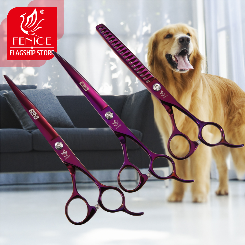 Fenice Professional Pet Grooming Scissors Set Purple Curved+Thinning+Cutting Shears Kit for Dog-in Dog Scissors from Home & Garden    2