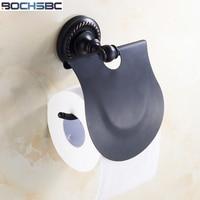 BOCHSBC Black Toilet Roll Paper Holder Classic Retro Copper Toilet Paper Holder Bathroom Kitchen Paper Towel Holder