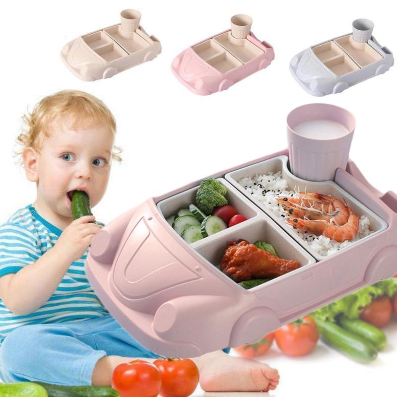 Baby Dinnerware Set Children Plate 6Pcs/Set Car Shape Creative Bamboo Fiber Kids Feeding Spoon Fork Bowl Divided Dishes