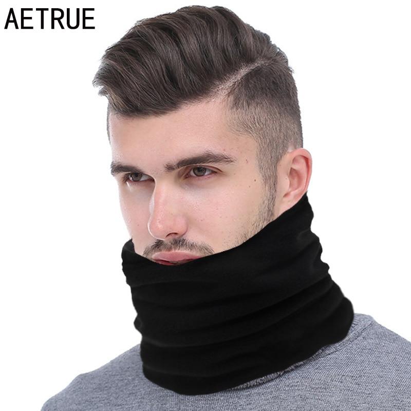 AETRUE Fashion Men Winter Scarf Ring Women Knitted Scarves For Men Neck Shawl Snood Warp Collar Warm Male Soft Fleece Scarves