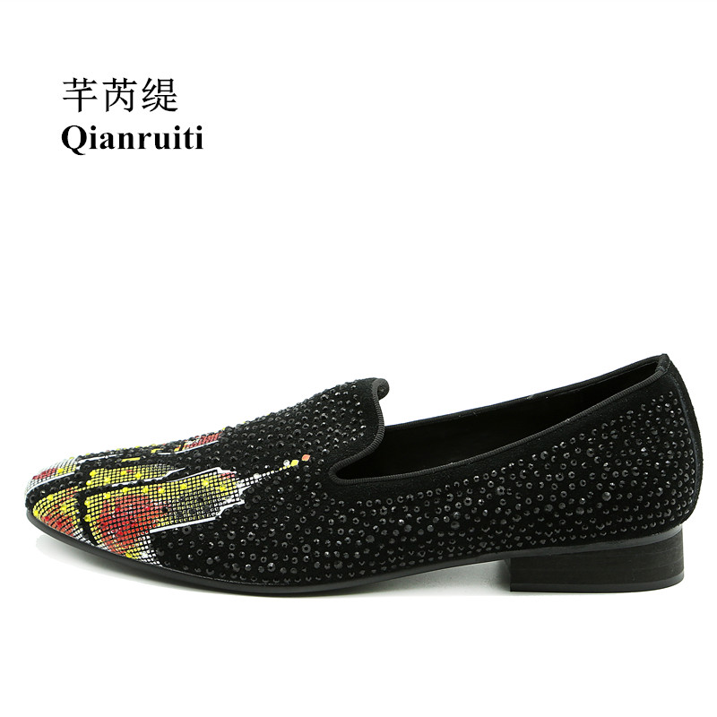 Qianruiti Men Mixed Color Printing Slipper Flats Slip-on Loafer Strass Rhinestone Luxury Handmade Men Smoking Casual Shoes