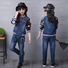 2016 Spring and autumn children s denim M pattern standard two piece suit kid girls splicing