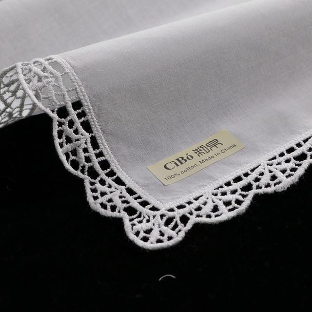 D003: White premium cotton lace handkerchiefs 12 piece/pack blank crochet hankies for women/ladies wedding gift