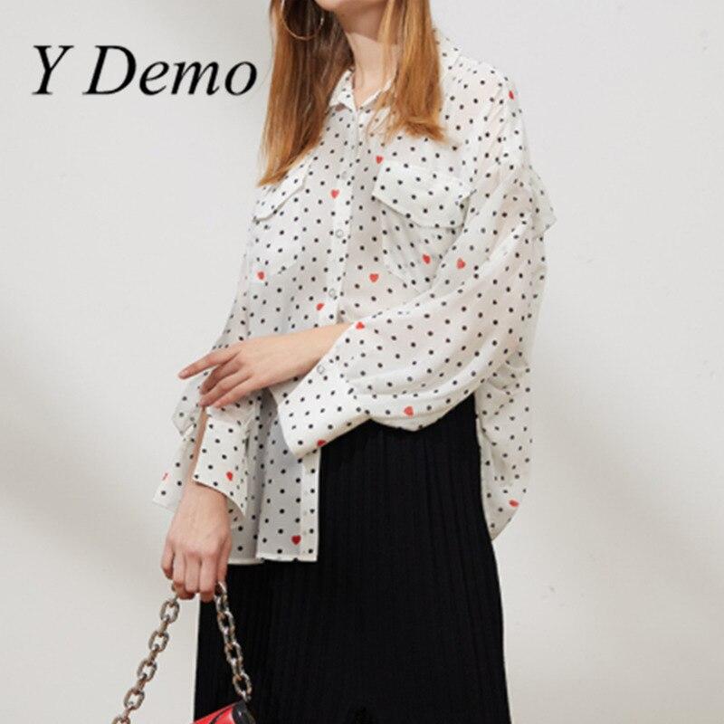 Y Demo New Fashion Fungus Edge Oversize Heart Printing Chiffon Shirt Women Clothing