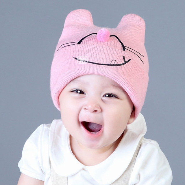 Cat Pattern Hat For Kids Children Baby Boys Girls Winter Ball Knit