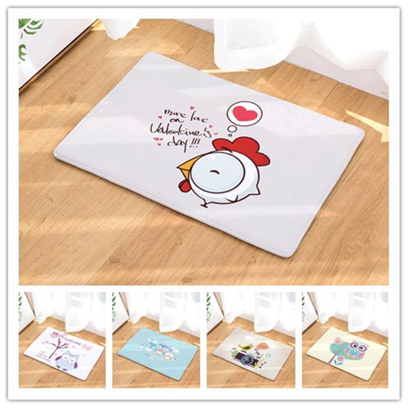 40x60 50x80cm Cartoon Cute Birds Door Mat Entrance Door Light Thin Flannel Cute Cartoon Cozy Carpets Home Decor Kitchen Mats