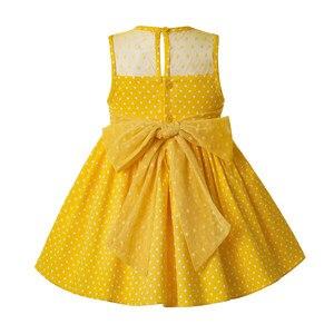 Image 3 - Pettigirl Neueste Mädchen Ostern Kleid Sommer Weiße Blume Dot Ärmel Gelb Baumwolle Kinder Kleid Mit Headwear G DMGD201 C137