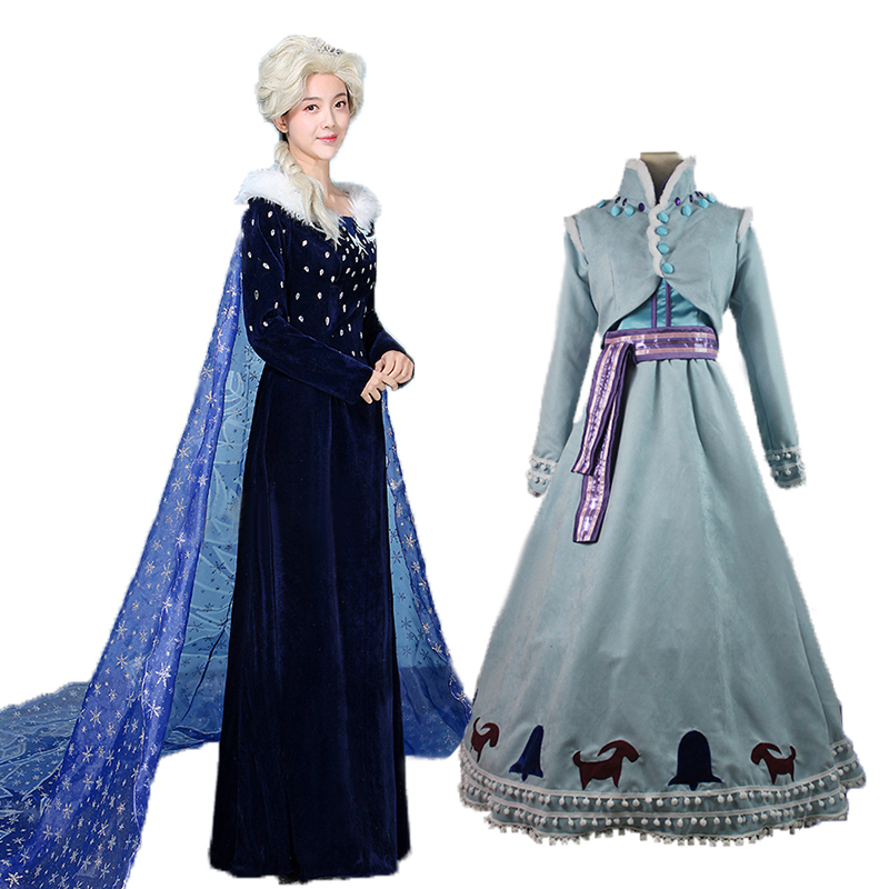 Adventure Elsa Anna Cosplay Costume Princess Fancy Dress Sequined Outfit Snow Queen Cosplay Halloween Party Clothing Adult new girls anna elsa dress children s dress sequined princess cinderella fancy kids clothes for party costume snow queen cosplay