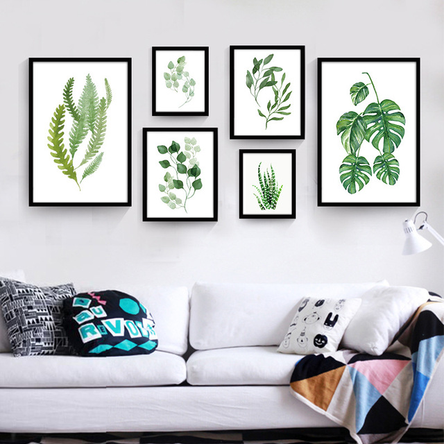 Modern Canvas Art Print Poster Canvas Oil Painting By Numbers Green Leaves  Print Wall Pictures For