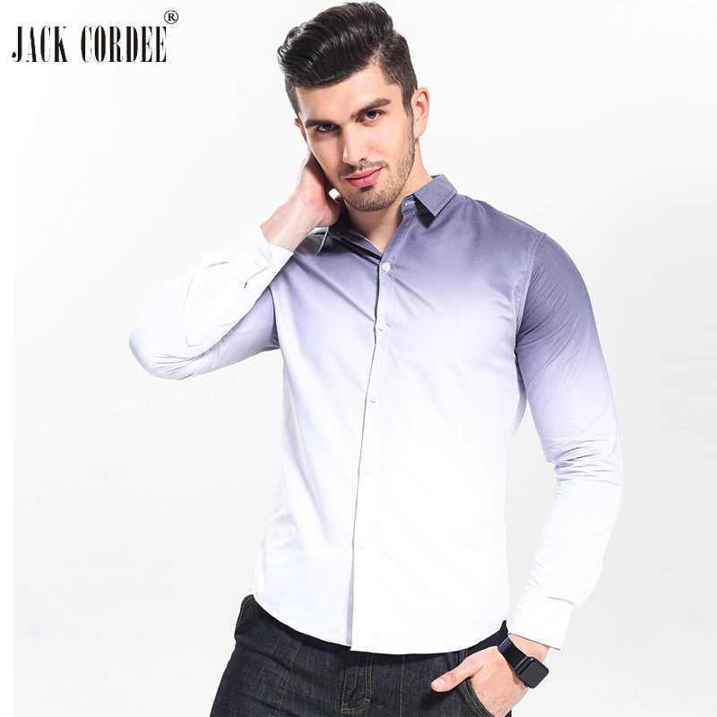 ジャック CORDEE 2019 ファッション男性のシャツ、白勾配スリムフィット男性社会シャツタキシードシャツ秋メンズ長袖ドレスシャツ