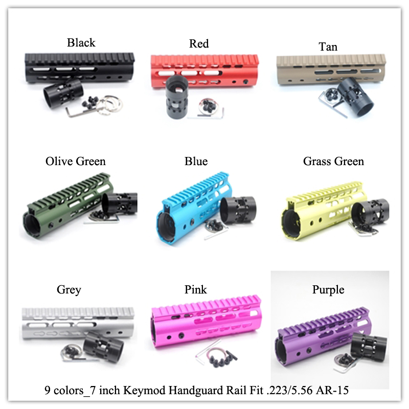 7 inch Keymod Handguard Rail Free Float Picatiny Mount Sytsem Black Red Tan Blue Pink Purple