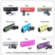 7 »дюймовый Keymod цевье Rail свободном Picatiny крепление Sytsem_Black/красный/коричневый/синий/розовый/ фиолетовый/серый/оливковый зеленый/трава зеленая