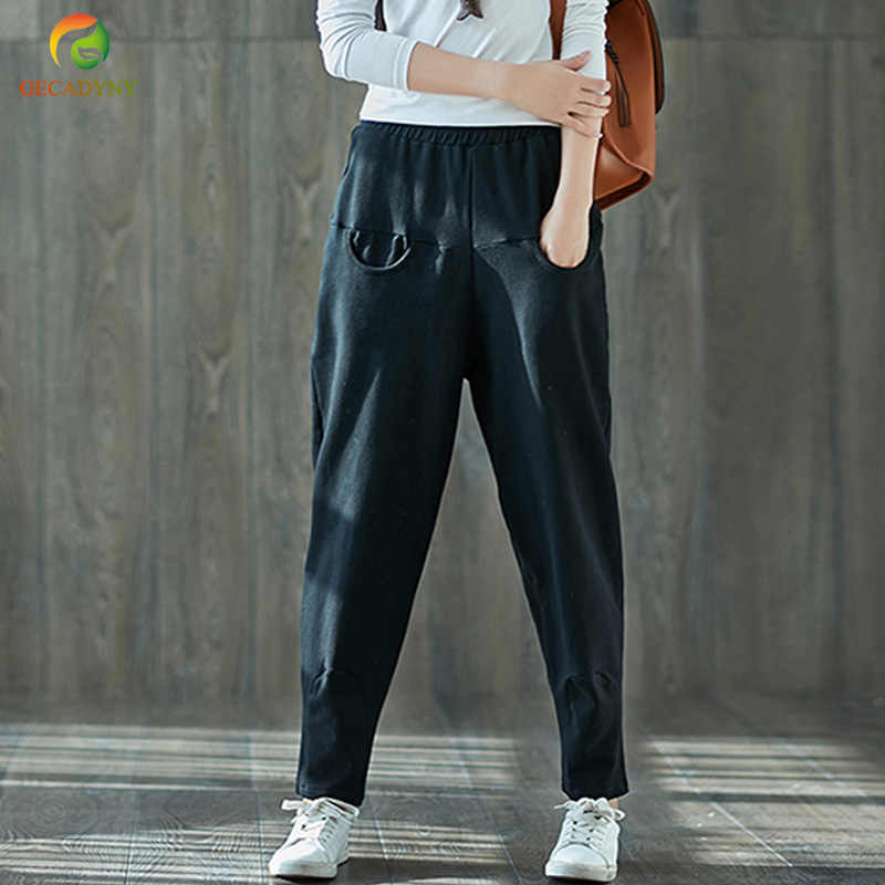 Summer Autumn Women's Harem Pants Black Stitch Sweatpants Casual Harem Pants Women Hip-Hop Pantalon Femme Pantalones Mujer M-XXL