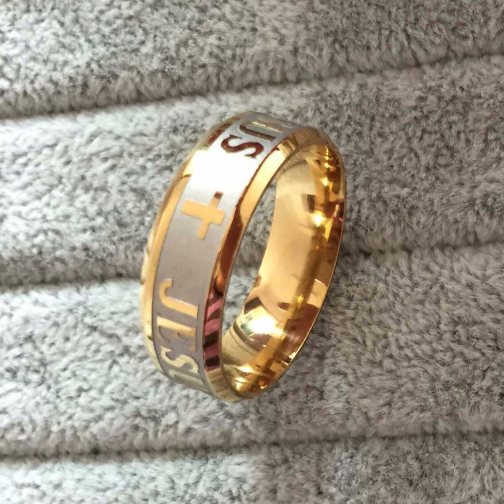18k GOLD PLATED Men's Women's Stainless Steel Wedding Band Ring (8mm Wide) DrDhsL