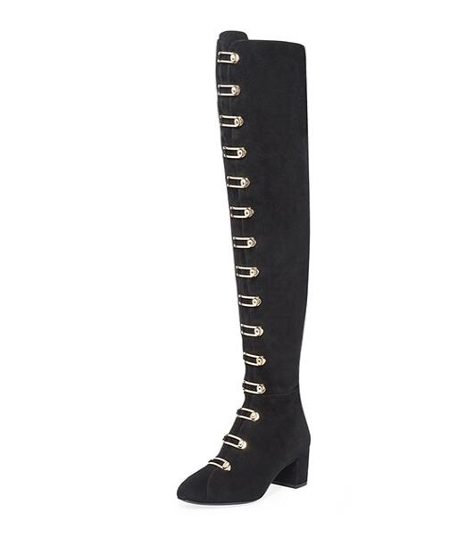Big Size 13 New Arrivals 2017 Women's Buckle-Embellished Suede Boots High Quality Black Turnlock Buckle Over-the-Knee Boots 2017 winter new arrivals cheap price high quality black suede leather gold studded over the knee boots women boots size 35 42
